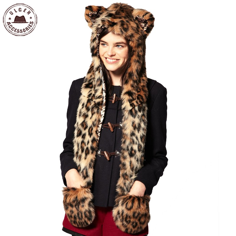 Faux Fur Bomber Hat Warm Winter Hats For Women Animal Wolf Tiger Hood Scarf Hat Glove Set Ladies Girls Spirit Caps [HUB145g]