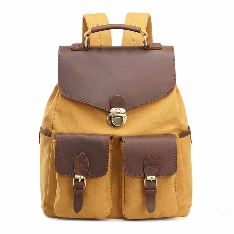 M168 Fashion Backpack Leather Canvas men backpack School Bag Military Backpack Women Rucksack male Knapsack Bagpack