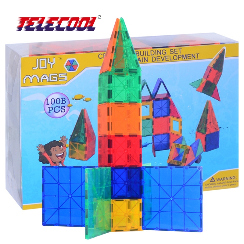 TELECOOL 102/122 PCS Magnetic Building Tiles Models Blocks DIY Toys Inspire Adult & Kids Learning Educational MAGNETIC Toy magnetic tiles building models blocks 100pcs a b c series diy toys inspire adult