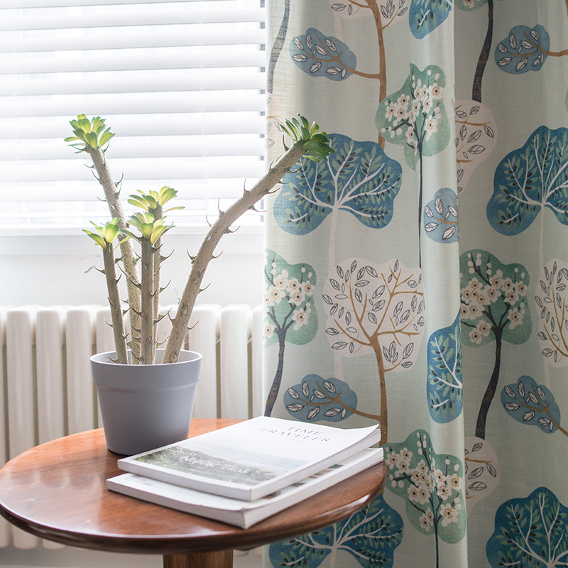 Curtains for Bedroom Dining Living Room Shu Shen Modern Exquisite Simple Thick Cotton Bamboo Printed Fabric Curtain Fabric