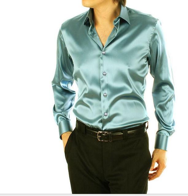 Camisas de vestir de los hombres más el tamaño de alta calidad: S-5XL hombres camisa de seda camisa de los hombres slim fit de manga larga para hombre de negocios formal camisa de vestir