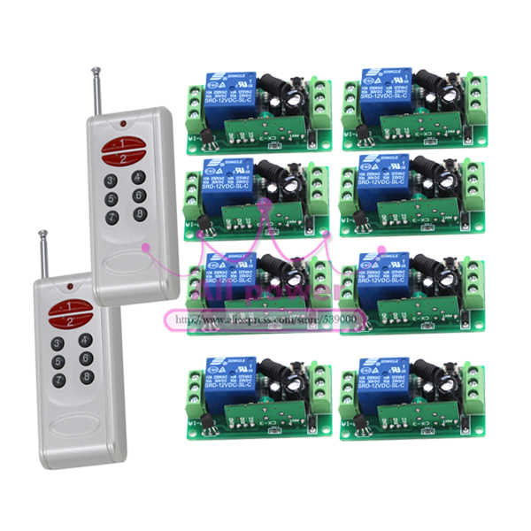 все цены на Free shipping 12V 8CH RF Wireless Remote Control Switch system /2transmitter and 8receiver/RF 1CH controller and remote control онлайн