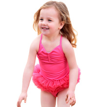 ФОТО swimsuit with skirt for children girls swimwear pink ballet princess skirt summer baby kids swimming dress bathing suits