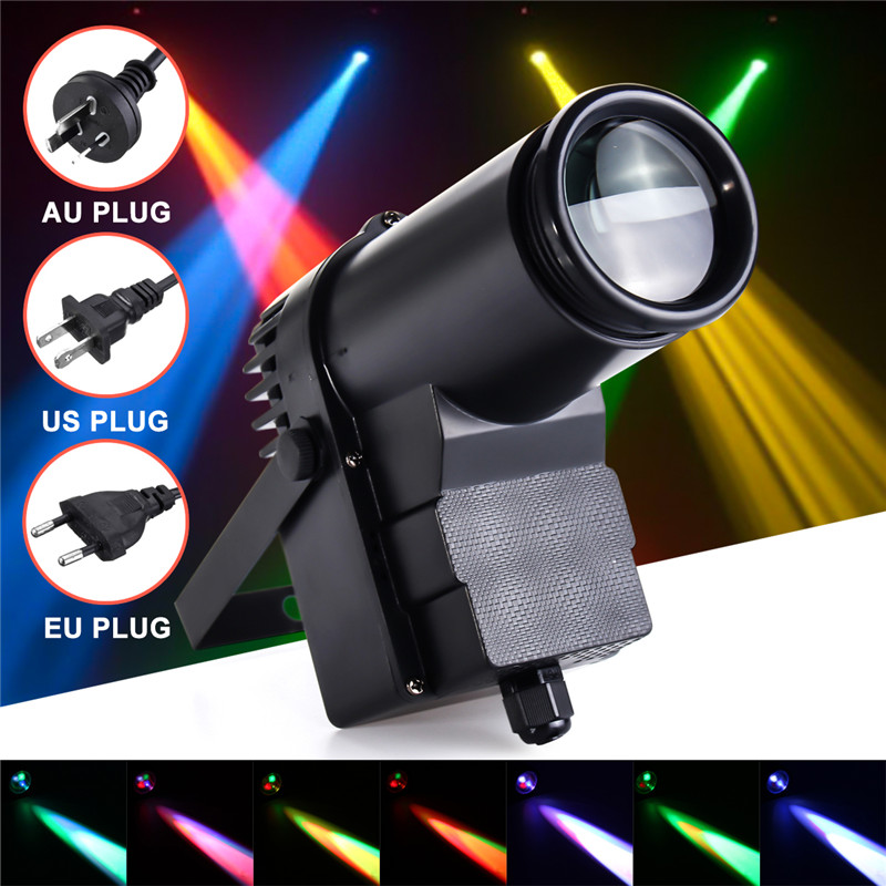 Smuxi 10W DMX RGBW LED Stage Light Pinspot Light Beam Spotlight 6CH Professional DISCO KTV DJ Stage Lighting Effect AC110-240V portable led stage light rgbw pinspot beam spotlight dj disco ball stage lamp