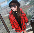 Girls Fall and Winter Clothes Wool Cardigan Collar Windbreaker Children Personality Plaid Woolen Coat Kids Clothing 3 Colour