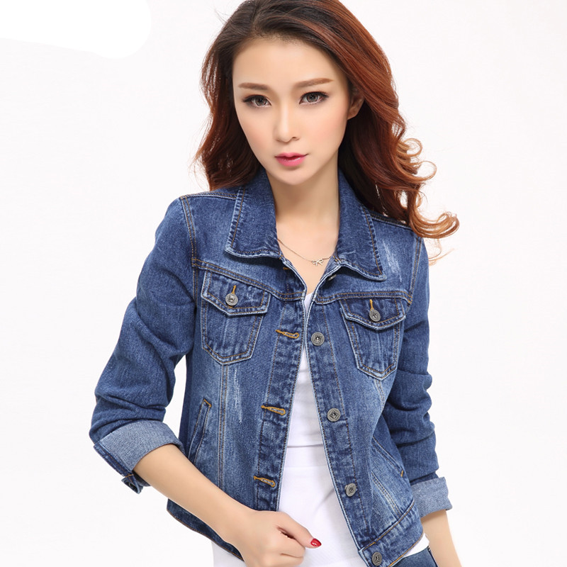 Women Denim   Jacket   2019 Spring Long Sleeve Slim Short Jeans   Jacket   Coats Casual Women Tops   Basic   Coats & Outerwear K543