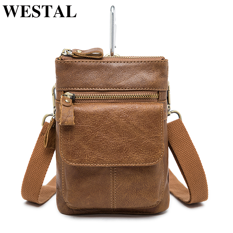 WESTAL Genuine Leather Men's Bag Casual Crossbody Bags for Men Leather Bag Male Shoulder Messenger Bags Zipper Small Flap Pouch japanese pouch small hand carry green canvas heat preservation lunch box bag for men and women shopping mama bag
