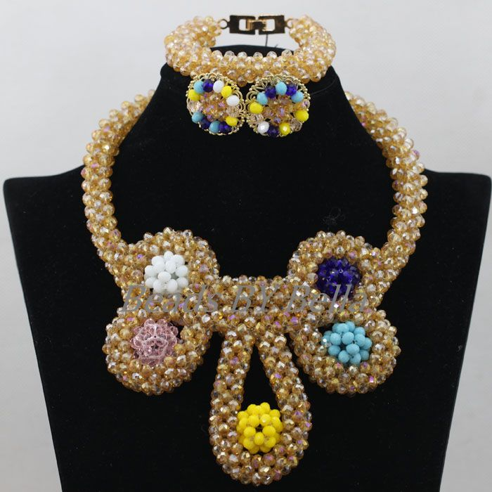2017 New Design Gold Crystal Beads Bridal Jewelry Sets Nigerian Wedding Women Costume African Jewelry Set Free Shipping ABF7852017 New Design Gold Crystal Beads Bridal Jewelry Sets Nigerian Wedding Women Costume African Jewelry Set Free Shipping ABF785