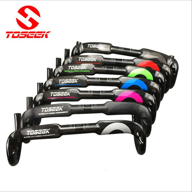 TOSEEK carbon fiber road bike handlebar carbon fiber carbon handlebar bend the carbon bicycle handlebar road 31.8-40/42/44cm 2017 new ultra light road bike handle carbon fiber road handlebar xxx carbon fiber road handlebar bend to bend one of the 260g