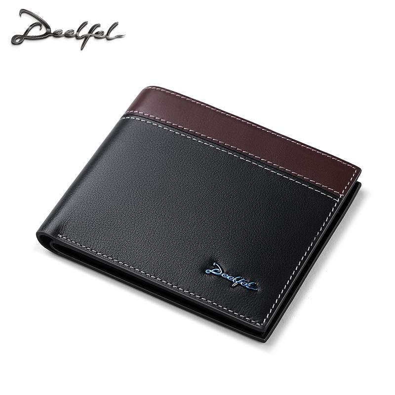 DEELFEL Brand New Genuine Leather Wallet Men Business Purse Short Male Clutch Wallets High Quality Men Luxury Purses Money Clips bvp luxury brand weave plain top grain cowhide leather designer daily men long wallets purse money organizer j50