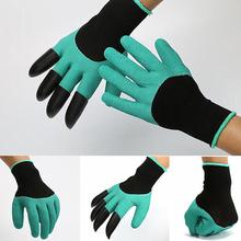 1 Pair Rubber Polyester Builders Garden Work Latex Gloves 4 ABS Plastic Claws WLL9235