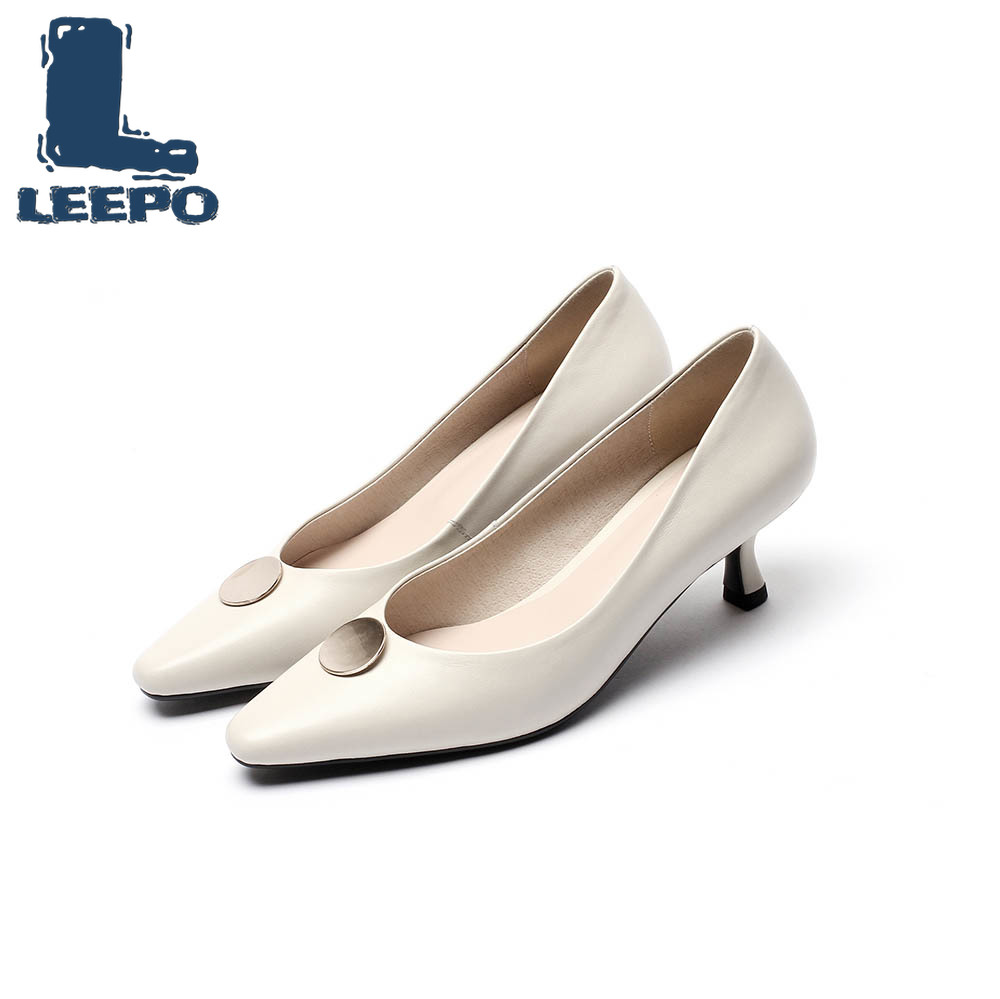 LEEPO Shoes Woman Heel Genuine Leather Dress Shoes Elegant Off White Thin Heels Ladies Pointed Toe