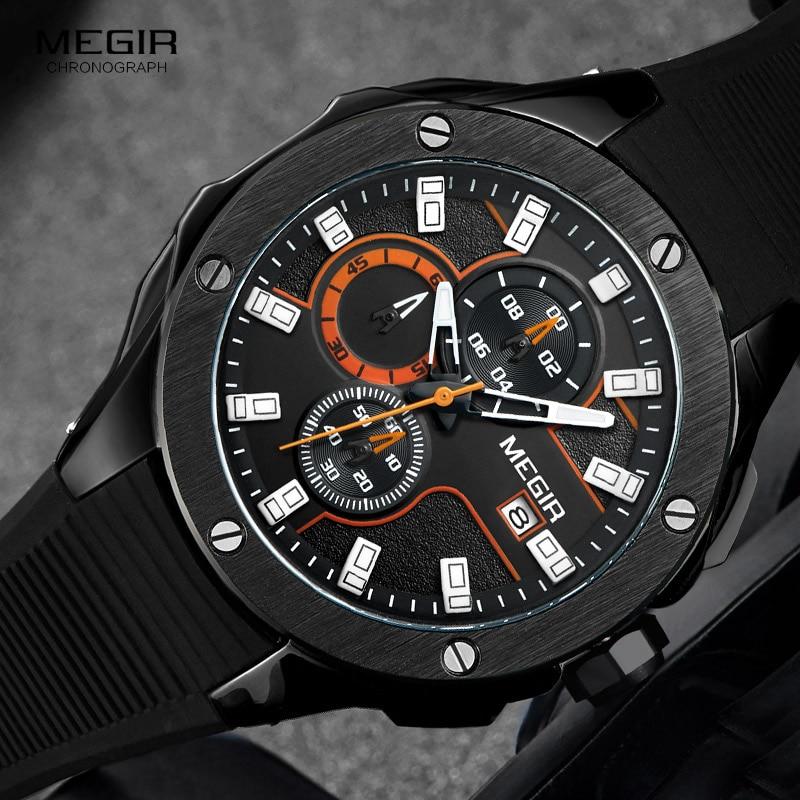 Megir Cronograf Luminos Hands brățară de silicon bărbați militare militare Sport cuarț ceasuri de mână cu indicator de date 2053G