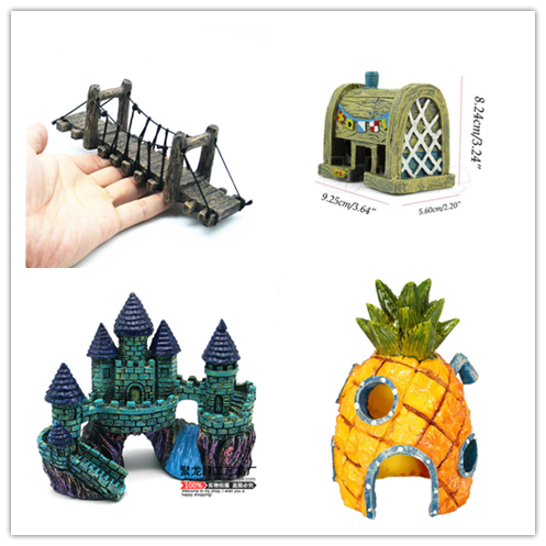 Resin Kartun Castle Akuarium Dekorasi Kayu Jembatan Spongebob Nanas Rumah Tangki Ikan Hiasan Akuarium Aksesoris Dekorasi Aliexpress