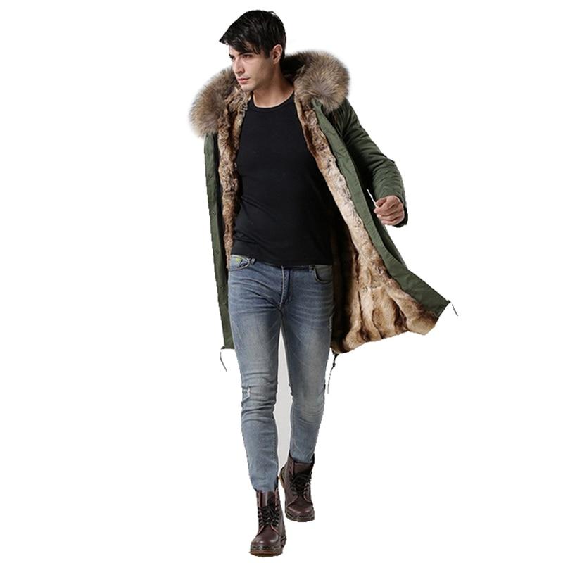 2018 Italie mâle réel raton laveur col de fourrure veste MrMrs doublées de fourrure parka longue avec fausse fourrure de lapin hiver hommes manteaux ventes chaudes