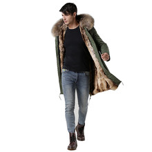 2018 Italy male real raccoon fur collar jacket MrMrs fur lined long parka with faux rabbit fur winter men coats Hot Sales(China)