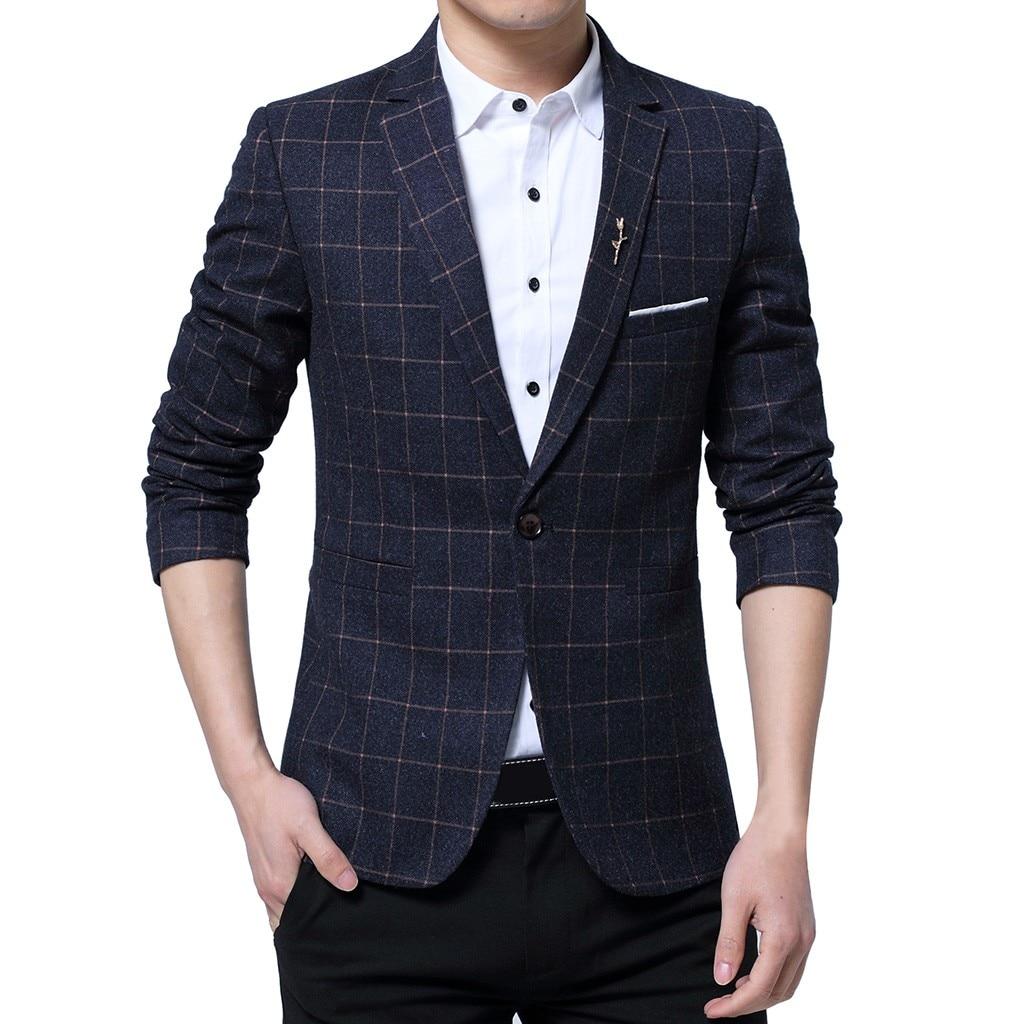 Men Blazer Masculino Sobretudo Masculino Blazers 2019 Fashion New Style One Button Suit For Self-Cultivation Polyester Coat Z4