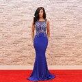 Elegant Royal Blue Largo Vestidos de Noche 2017 Nueva Sirena Sheer Scoop Lentejuelas vestido de Fiesta Vestido de Vestidos de Fiesta Formal