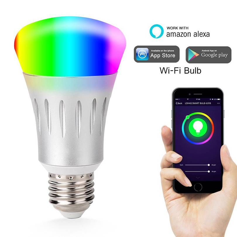 Smart LED Wireless WiFi Lamp Bulb E27 7W Multicolored AC85-265V Remote Control Dimmable Smart Light Bulb For Amazon Echo Alexa new rf 315 e27 led lamp base bulb holder e27 screw timer switch remote control light lamp bulb holder for smart home