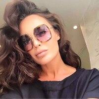 Fashion Hexagonal Octagon Sunglasses Women Men Brand Designer Clear Mirror Metal Frame Polygon Prestigio Sun Glasses