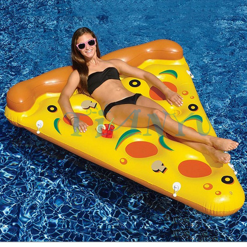 Hot! 188cm *150cm Inflatable Pepperoni & Pizza Water Floats Swimming Pool Air Raft Floats For Summer Inflatable Swimming Rings environmentally friendly pvc inflatable shell water floating row of a variety of swimming pearl shell swimming ring
