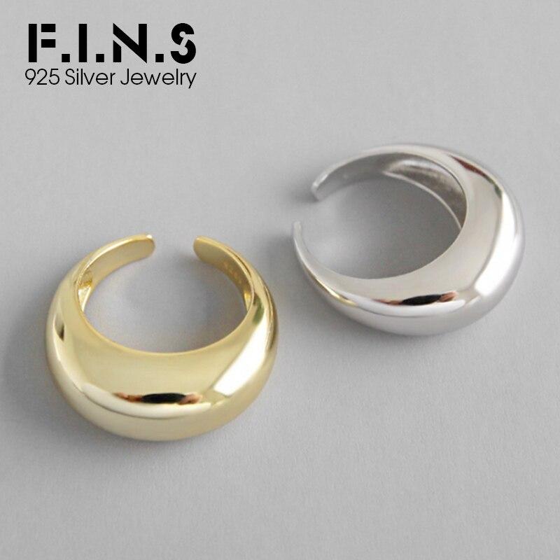 Arc-Shaped F.I.N.S 925 Grandes Anéis de Prata para As Mulheres do Sexo Feminino Anel de Dedo Personalidade Anel de Noivado de Prata Aberto 2019