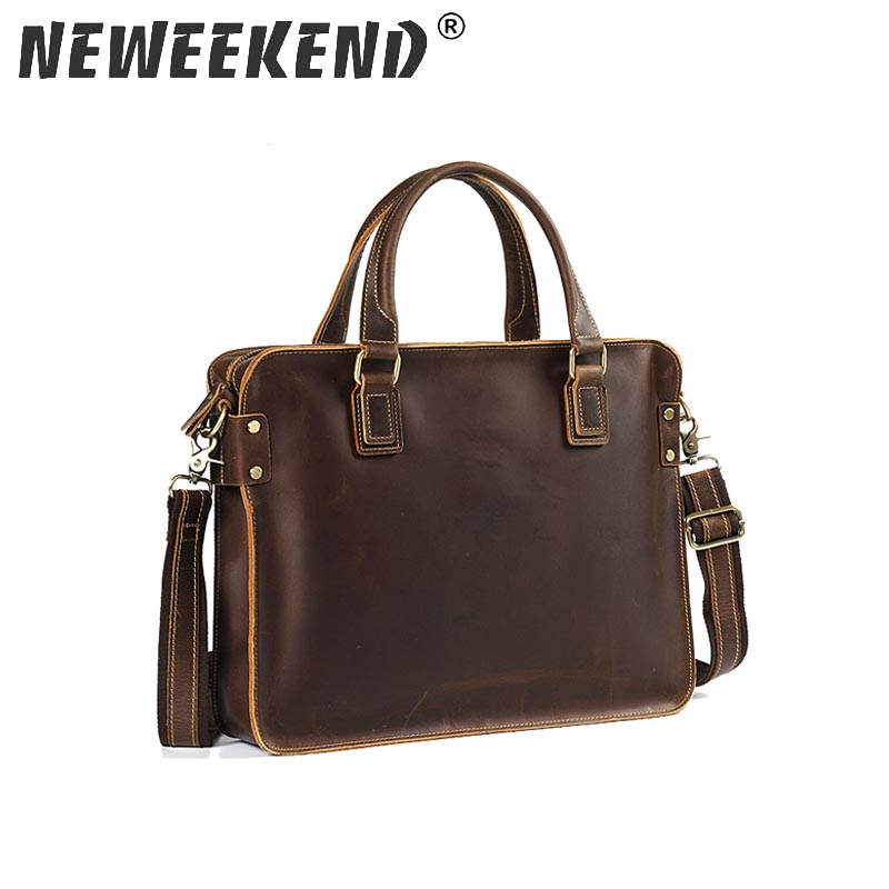 New Fashion Cowhide Male Commercial Briefcase Real Leather Vintage Men'S Messenger Bag Casual Natural Cowskin Business Bag 6914