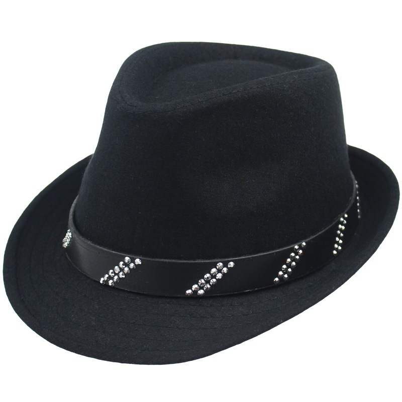 New Gentleman High end Vintage Autumn Winter Hat for Men and Women  Artificial Wool Jazz Hat British Style Hat Black Gray-in Fedoras from Men s  Clothing ... 589cd575957