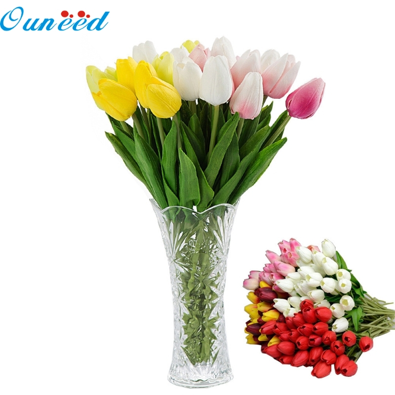 Ouneed Happy Home 10pcs Tulip Artificial Flower Latex Real Touch Bridal Wedding Bouquet Home Decoration