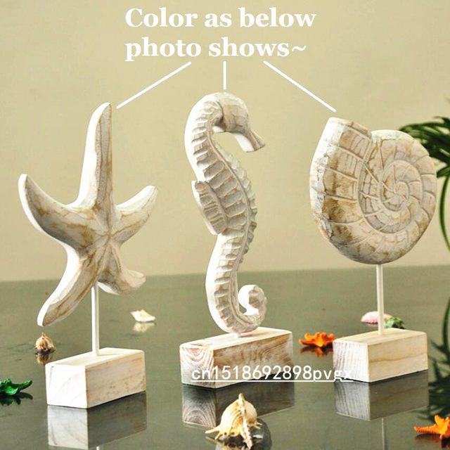 Mediterranean Style Wood Crafts Starfish Conch Hippocampus Wood Carving Marine  Home Decor