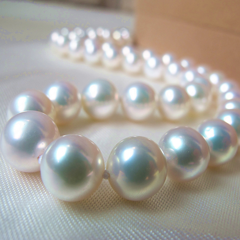 Mariage éternel femmes cadeau mot 925 en argent Sterling réel 10-11mm naturel collier de perles d'eau douce boucle d'oreille Aurora