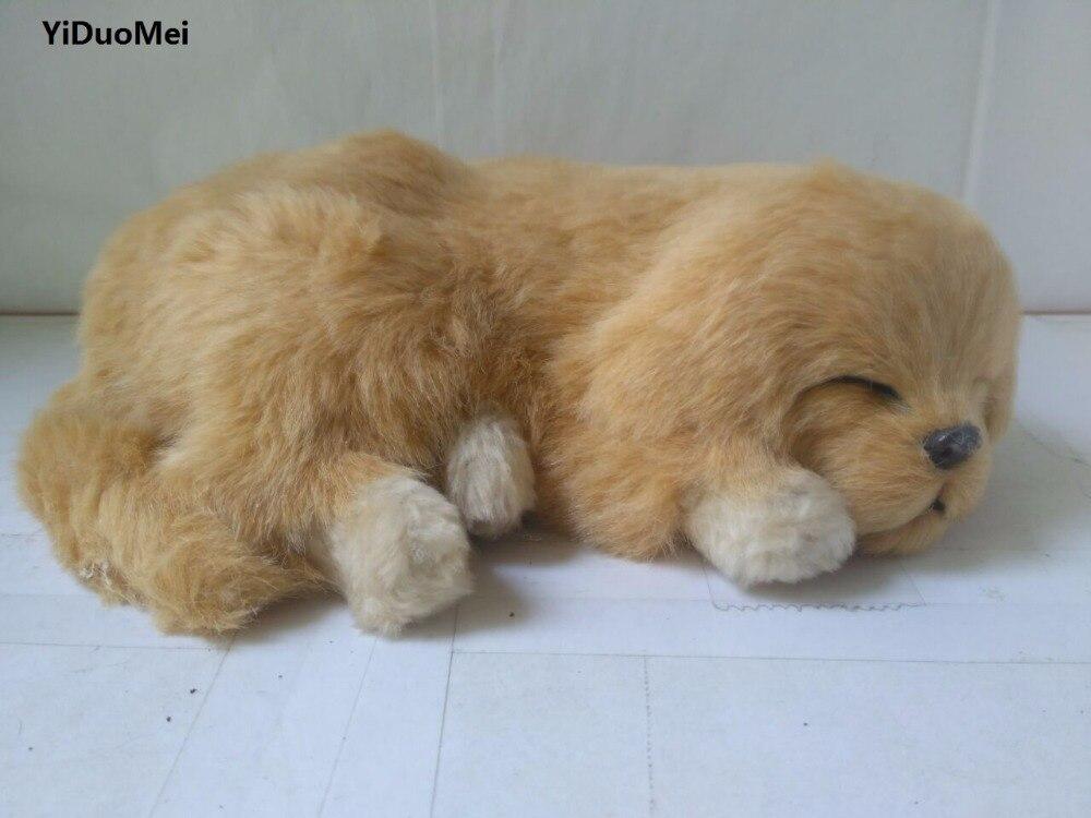 large 26x20cm artificial sleeping dog model plastic&furs breathing Golden Retriever handicraft prop,home decoration gift p0725
