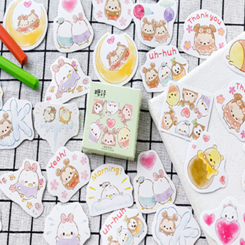 Купить с кэшбэком 45pcs/pack lovely kawaii cartoon egg baby paper sticker multifunction decoration bubble sticky label gifts for kids