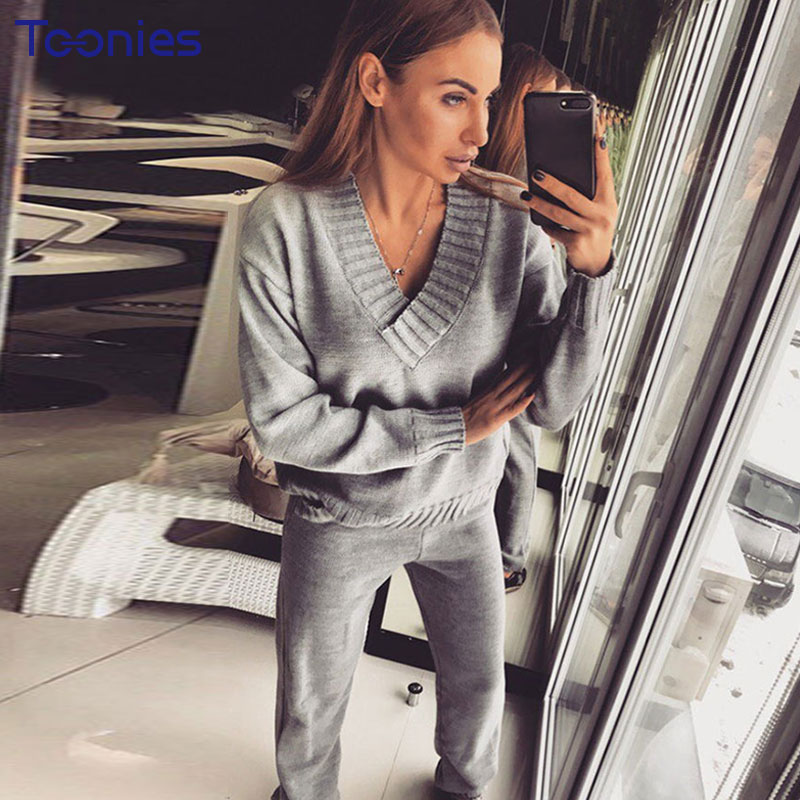 New Arrival 2 Piece Set Women Knitted Sweater with Pants Solid Color Tracksuit Female V Neck Survetement Femme Casual Woman Suit ...