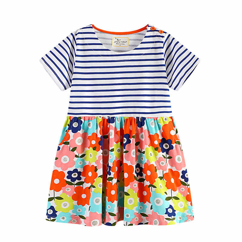 Jumping meters jersey Dresses for baby girl summer wear children hot selling cotton clothing with cute printed pattern kid dress