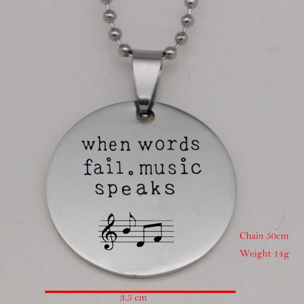 "304 Stainless Steel ""When Words fail.music speaks"" Print Music Note Necklace Guitar Pick Pendants Couples Necklaces YLQ6008"