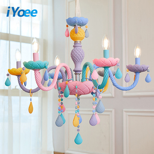 Image 1 - Crystal Chandelier Children Bedroom light colorful glass living room chandeliers Fantasy Luminaire Stained Glass Lustre