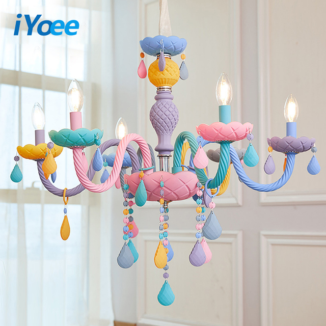 Crystal Chandelier Children Bedroom light colorful glass living room chandeliers Fantasy Luminaire Stained Glass Lustre