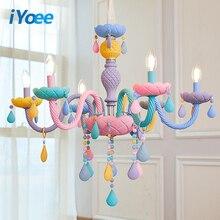 Lámpara de cristal para dormitorio de niños, sala de estar colorido para candelabro de cristal, luminaria de fantasía, Lustre de cristal manchado