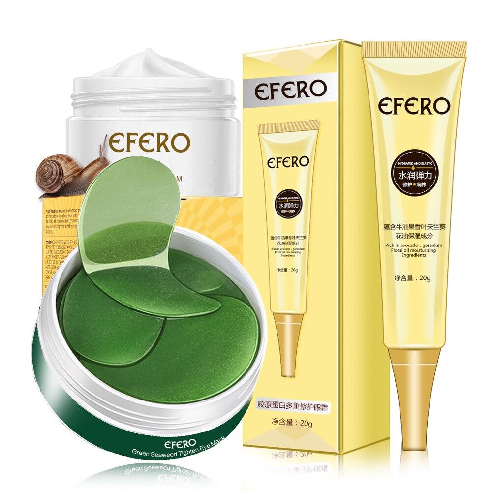 3Pc/Set Collagen Eye Mask Snail Face Cream Whitening Firming Anti-aging Snail Eye Cream Eliminate Eyes Bags Women Skin Care Set