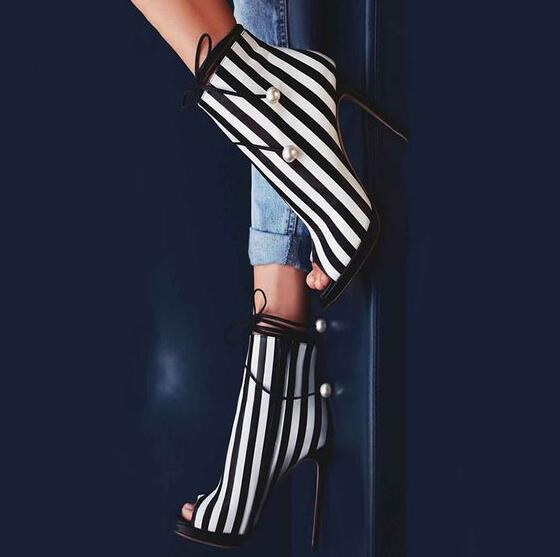 f6d7f71b1 Spring Hot Black And White Stripe Leather Women Peep Toe Ankle Boots Pearl  Ankle Lace Ladies Sexy High Heel Boots Stiletto Boots-in Ankle Boots from  Shoes ...