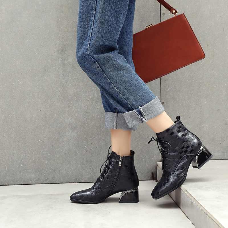 ZVQ 2019 bottines hiver nouveau concis décontracté zipper femmes mi carré talon en cuir véritable chaud chaussons femme marque chaussures 2019