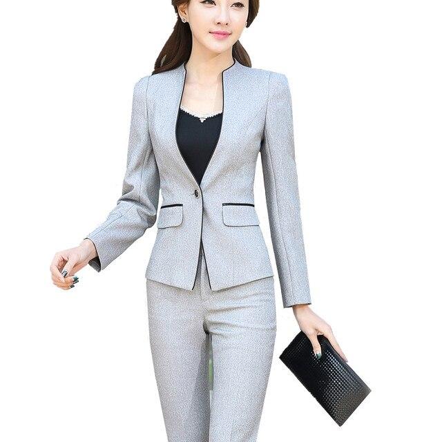 73cc9174b Las mujeres de dos piezas chaqueta señora de la Oficina traje de negocios  conjunto formal damas