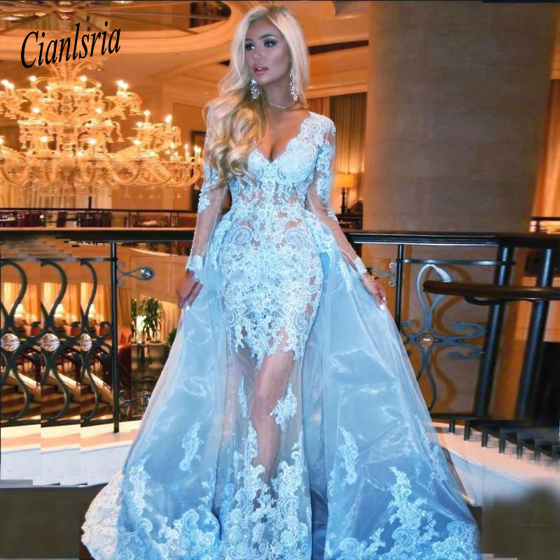 2019 Over skirts   Prom     Dresses   V Neck Sky Blue Long Sleeves Sheer Lace Appliques Beaded Sweep Train Party Plus Size Formal   Dress
