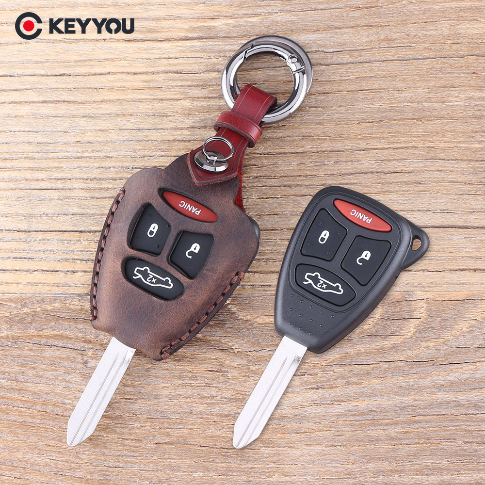 KEYYOU 4 Button Remote Key Fob Case Shell With Keychain ...
