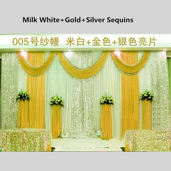 3m 6m Sequins Edge Design Fabric Satin Drape Curtain Gold