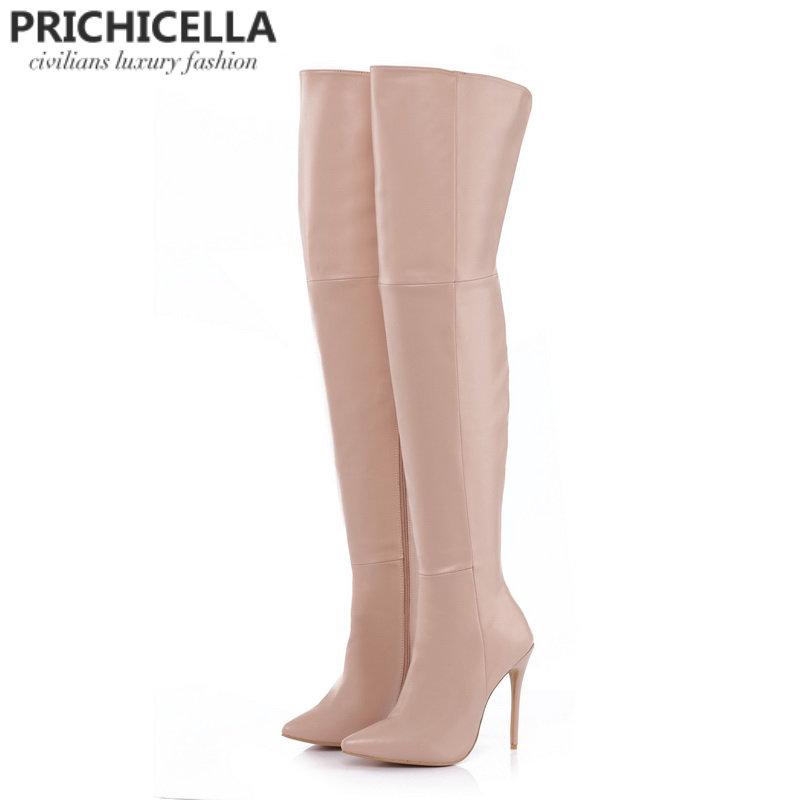 PRICHICELLAหนังแท้ต้นขาบู๊ทส์กริชส้นแหลมบางกว่านิ้วเท้าเข่าบู๊ทส์size34 42-ใน รองเท้าบู๊ทเหนือเข่า จาก รองเท้า บน   2