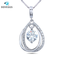 DEggs 18K 750 White Gold 0.5ct Diameter 5mm F Color Lab Created Moissanite Diamond Pendant Necklace For Women Fine Jewerly