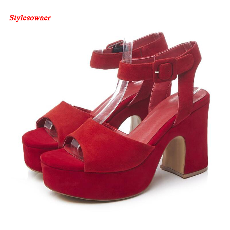 ФОТО Stylesowner Newest Nubuck Leather Platform High Heel Shoes Open Toe Thick High Heeled Gladiator Sandals Party Shoes Woman Summer