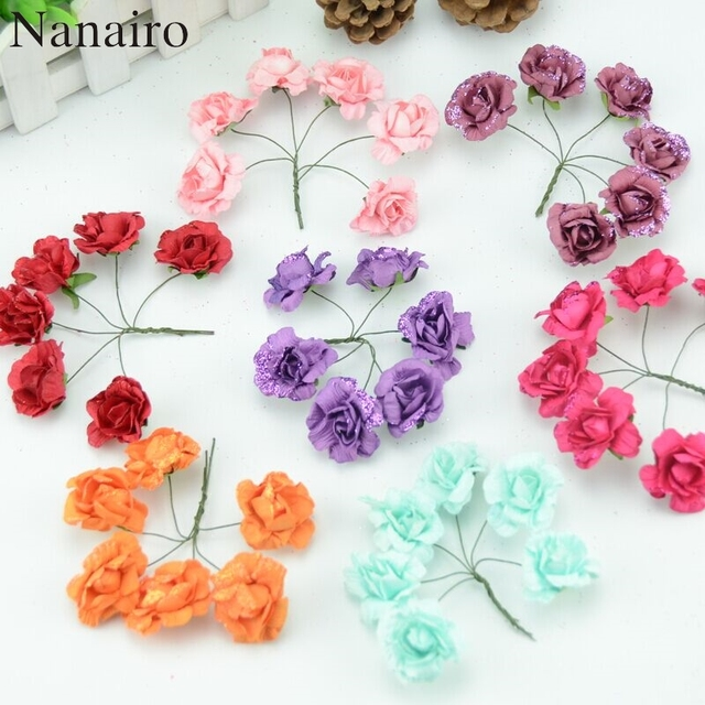 6pcs Lot 4cm Mini Paper Rose Flowers Bouquet Wedding Decoration Flower For DIY Scrapbooking